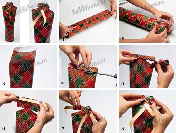 Как упаковать бутылки в подарок 6