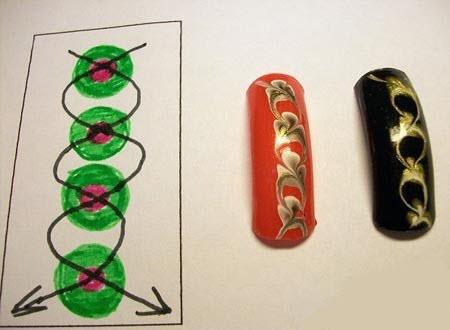 Как сделать узор на ногтях иголкой