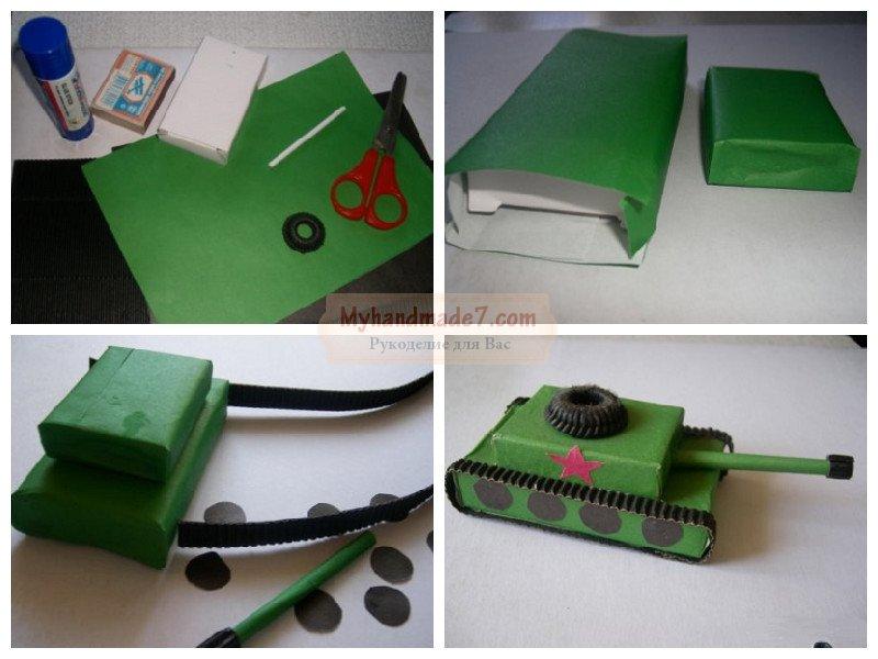 Как сделать своими руками танк из картона 81