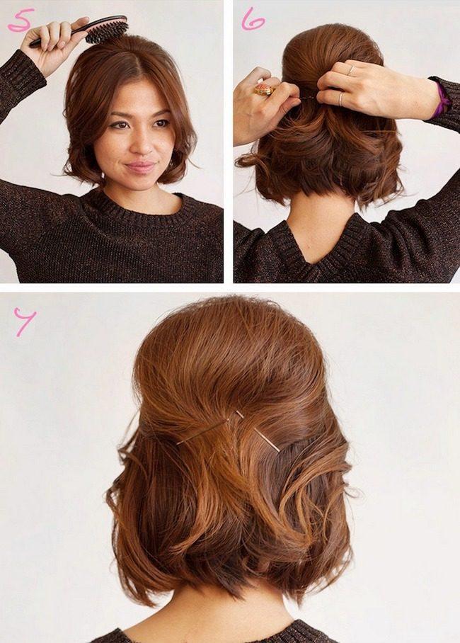 Прическа из коротких волос с шиньоном