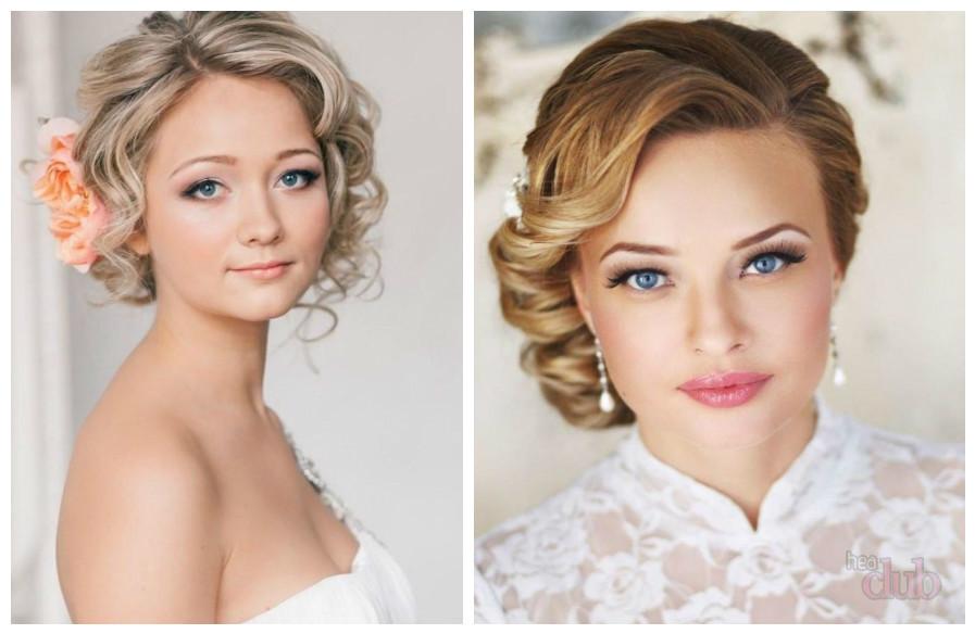 Свадебные прически для круглого лица на средние волосы с челкой