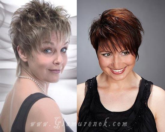 Стрижка на короткие волосы для полной женщины 50 лет