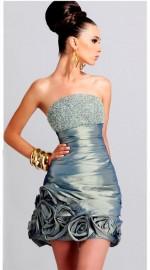короткое весернее платье стального цвета