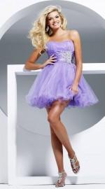короткое пышное платье лиловое