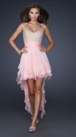 короткое вечернее платье со шлейфом розовое