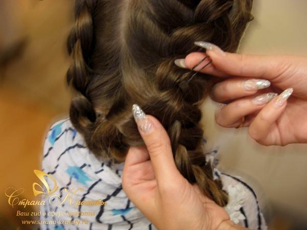 Плетение кос корзинок для длинных волос