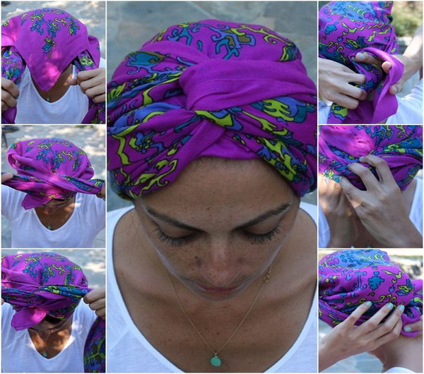 Как красиво завязать палантин на голову
