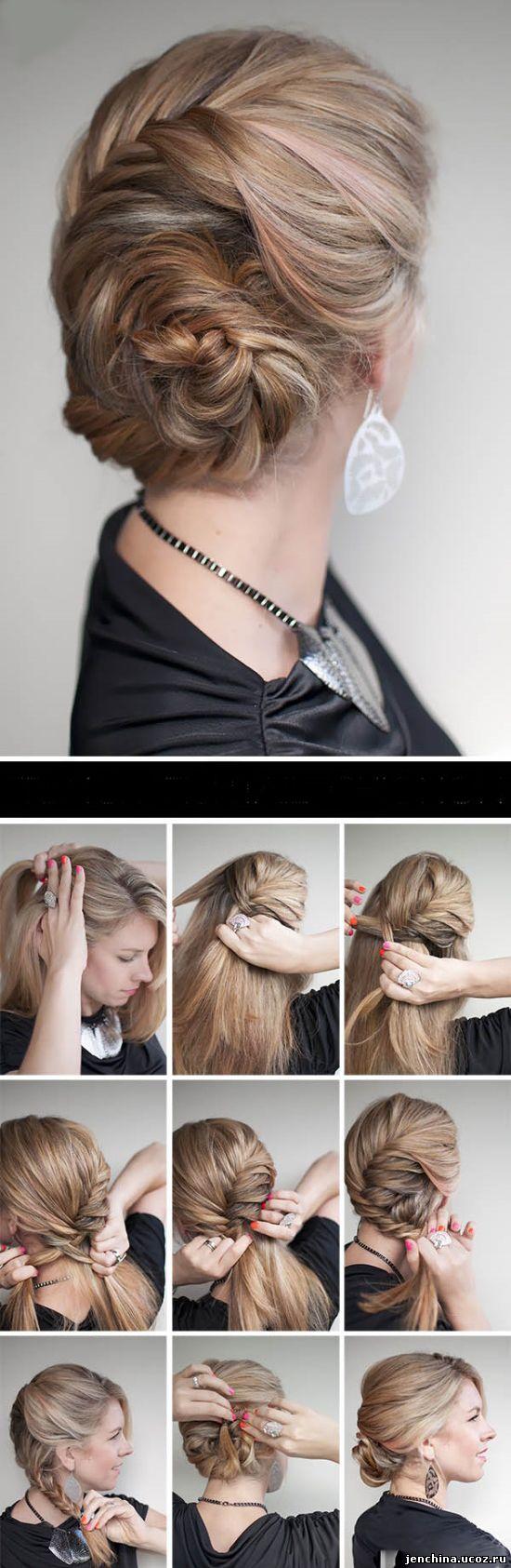 Причёски на своими руками на средние волосы фото пошагово