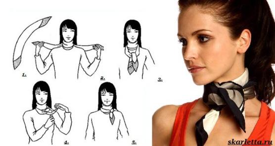 Как завязать платок на шее видео