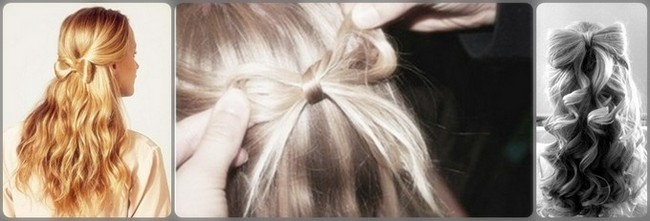Как сделать бант из волос на распущенных