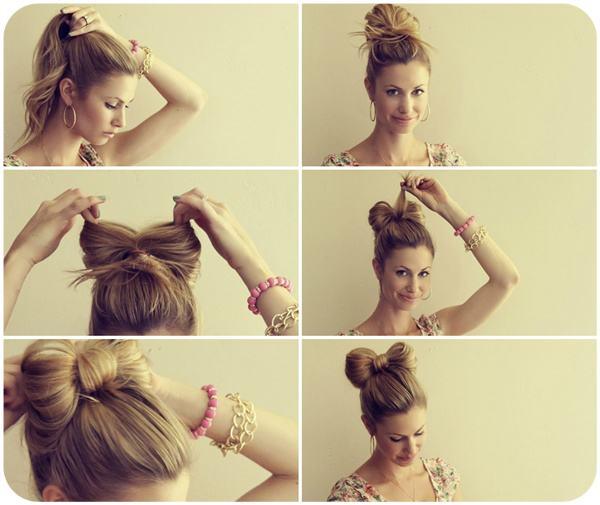 Как сделать из волос бантик в картинках