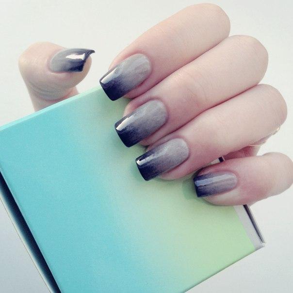 видео омбре на ногтях гель лаками с белого до коричневого цвета
