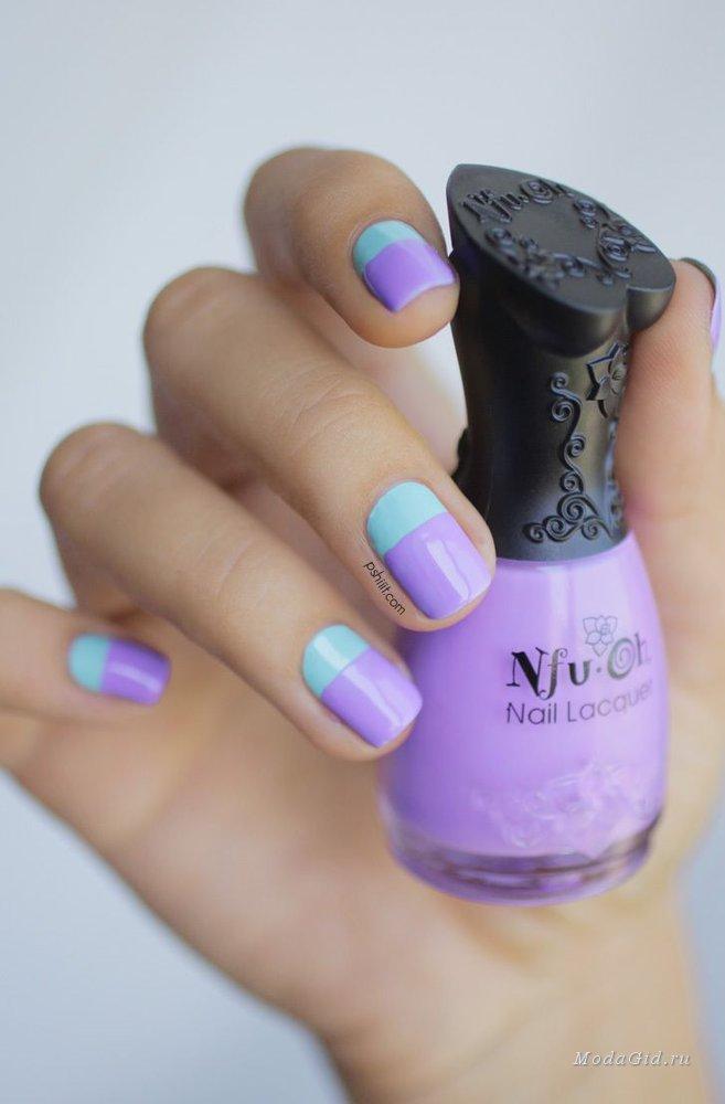 Маникюр в сочетании голубого и фиолетового