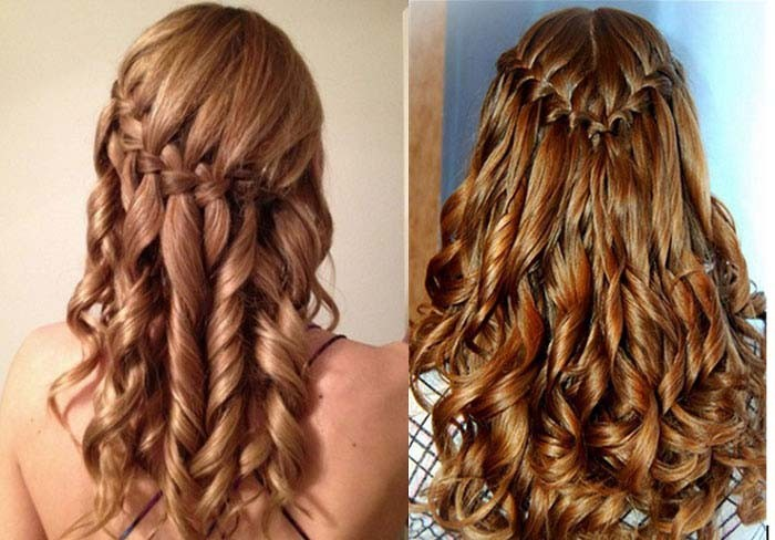 Прически с косами на средние волосы водопад