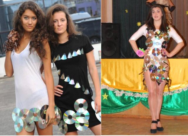 костюмы и платья из бросового материала - мк и фото