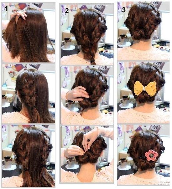 Легкие прически на средние волосы поэтапно-фото